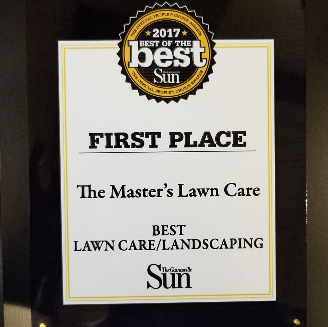 Gainesville Sun's Best of the Best Award for The Master's Lawn Care
